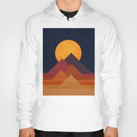 landscape Hoodies featuring Full moon and pyramid by Picomodi
