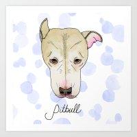 pitbull Art Prints featuring Pitbull by Melissa DiPeri