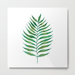 Palm Frond Watercolor Painting Metal Print