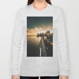 nyc skyline at dusk Long Sleeve T-shirt