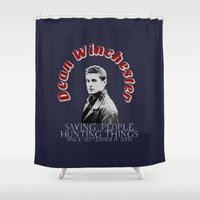 winchester Shower Curtains featuring Family Business - Dean Winchester by Fandom GoodieZ