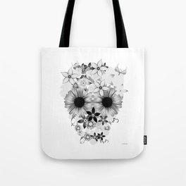 Skull Flowers grey - white Tote Bag