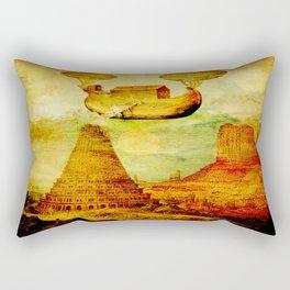The Noah's Ark arrives on the tower of Babel Rectangular Pillow