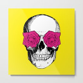 Skull and Roses | Yellow and Pink Metal Print
