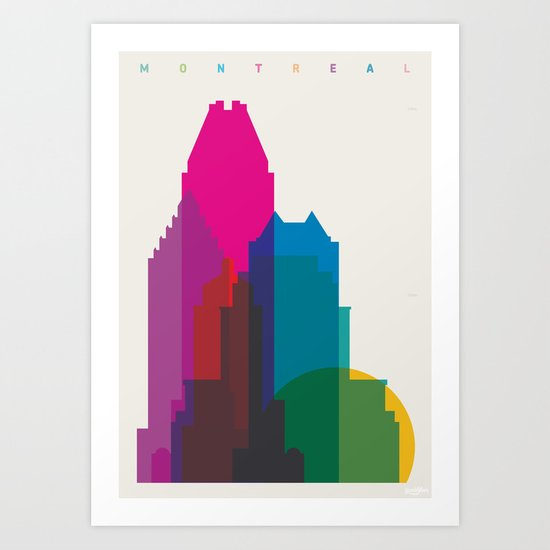 Shapes of Montreal. Accurate to scale. Art Print