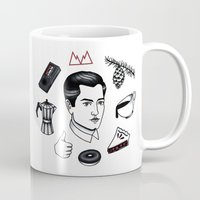 dale cooper Mugs featuring dale cooper collage by Bunny Miele