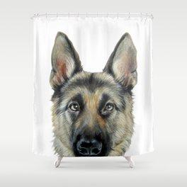 Shepard Dog illustration original painting print Shower Curtain