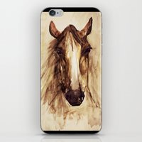 craftberrybush iPhone & iPod Skins featuring Horse watercolor  by craftberrybush