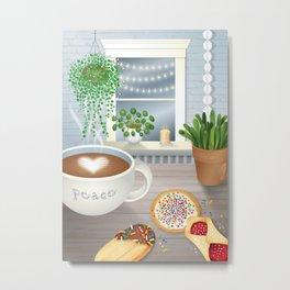 Peace, Love and Coffee Metal Print
