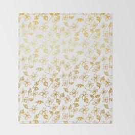 Golden flowers Throw Blanket