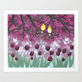 goldfinches, tulips, & flowering crabapple Art Print
