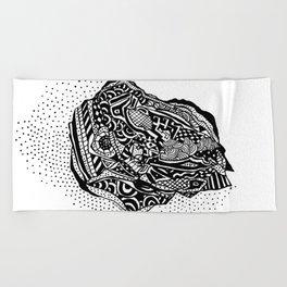 Hong Kong Dim Sum Wonton Doodle in BW Beach Towel