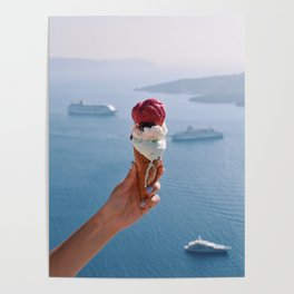 Hand holding melting ice cream in Santorini Poster