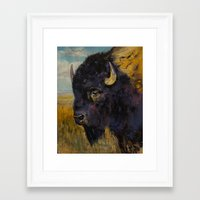 bison Framed Art Prints featuring Bison by Michael Creese