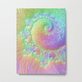 Reef Coral Abstract Colorful Spiral Swirl Pattern Fractal Fine Art Metal Print