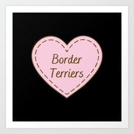 I Love Border Terriers Simple Heart Design Art Print