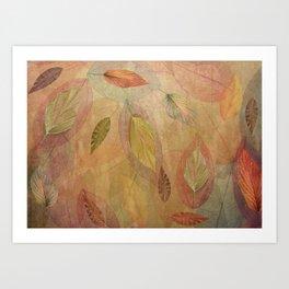 Swirling Fall Leaves Art Print
