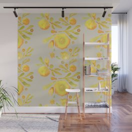 Granada Floral in Yellow on grey Wall Mural