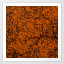 Mango Orange Hunting Camo Pattern Art Print