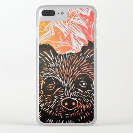 brown bear in autumn leaves lino print Clear iPhone Case