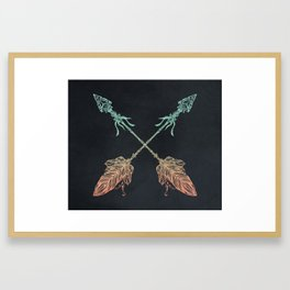 Arrows Turquoise Coral on Navy Framed Art Print