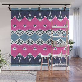 Geo Triangle Pink Navy 2 Wall Mural