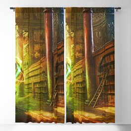 Magical Graceful Old Antique Library Witchcraft Sorcerer Globe Ultra HD Blackout Curtain