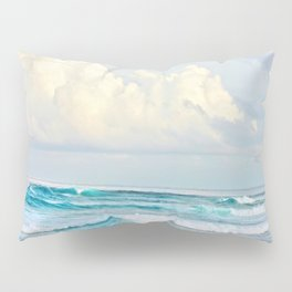 Blue Water Fluffy Clouds Pillow Sham