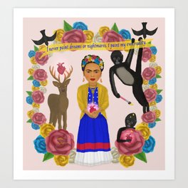 Frida Kahlo Tribute Light Pink Art Print