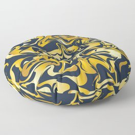 yellow and blue marble abstract texture pattern Floor Pillow