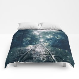 "Dream Train Tracks Teal : ""Next Stop, Anywhere"" Comforters"