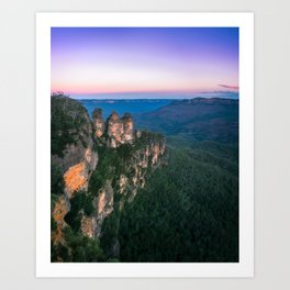 Cold morning but warm sunrise colors in the sky at Three Sisters in Blue Mountains. Art Print