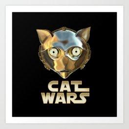 Cat Wars C3PO Art Print