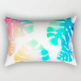 Prismatic Monstera Leaves Rectangular Pillow