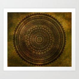 Lime Brown Mandala Art Print