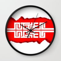 swag Wall Clocks featuring Red Swag by Azeez Olayinka Gloriousclick