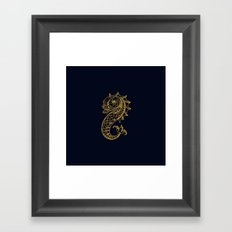 The gold seahorse- Navy blue maritime print with gold ornament Framed Art Print