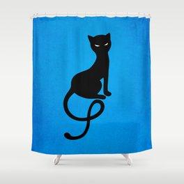 Blue Gracious Evil Black Cat Shower Curtain