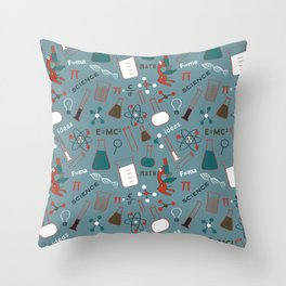 Blue Science and Math Icons Throw Pillow