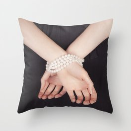 Tied with pearls Throw Pillow