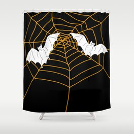 Halloween Orange Spider web with Bats Shower Curtain