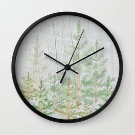 Pine forest on weathered wood Wall Clock