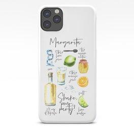 Margarita Recipe Watercolor Illustration iPhone Case