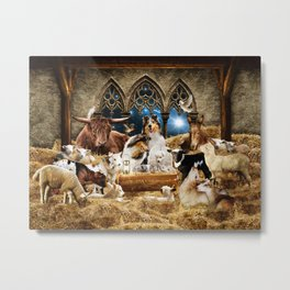 Magic Animal Christmas Nativity Scene with Rough Collies Metal Print