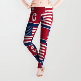 Mix of flag: USA and North Korea Leggings