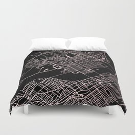 Wilkes-Barre Rose Gold and White Map Duvet Cover