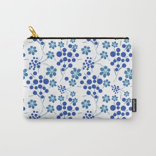Blue flowers on a white background. Carry-All Pouch