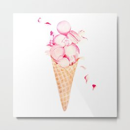 Pink Macaroons Rose Ice Cream Fashion Stylish Minimalism Food Metal Print