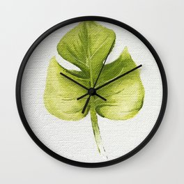 Bright Green Leaf Oil Painting Wall Clock