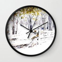 Winter Fence Line | Landscape | Nadia Bonello | Canada Wall Clock